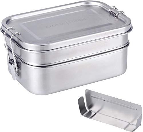 GLOBAL GOLDEN Edelstahl Brotdose Elegant Lunchbox Edelstahl Dichte Metall Brotdose mit Trennwand Bento Box Edelstahlmit 2 Fächern ohne Plastik & BPA Brotbox für Kinder und Erwachsene 1400ml