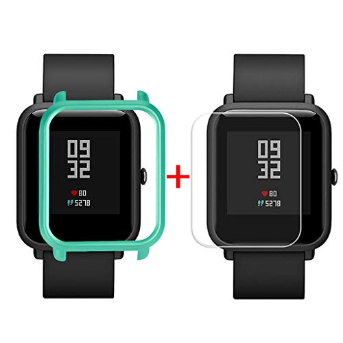 Sannysis Displayschutz Ultradünne PC Hülle Panzerglas Schutzfolie Set Kompatibel für Xiaomi Huami Amazfit Bip Youth Watch Displayschutzfolien, Schutzhülle + Panzerglas (Grün)