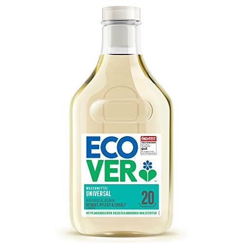 Ecover Waschmittel Universal Hibiskus & Jasmin (1 L/20 Waschladungen), ÖKO-TEST TESTSIEGER 07/2020*, Flüssigwaschmittel mit pflanzenbasierten Inhaltsstoffen, pflegendes Vollwaschmittel