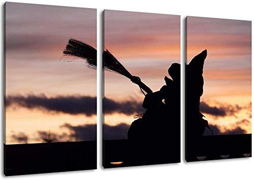 Dunkle Hexe Bei Sonnenuntergang Format Dreiteiliges Gemälde Auf Leinwand Bilder Rahmenlose Hauptdekoration