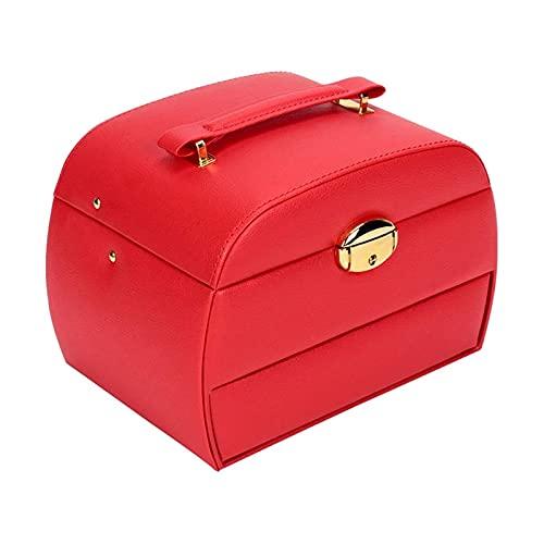 LSLS Caja joyero Caja de joyería, 3 Capas Caja de Almacenamiento de Joyas de Cuero PU con Espejo, para almacenar Anillos, Pulseras, Pendientes, Collares, Organizador de Joyas