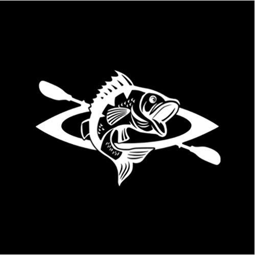 Etiqueta engomada del Coche de 3 Piezas 17 * 10,7 CM Etiqueta engomada Interesante del Coche del Vinilo de la Canoa y del Pescado Blanco