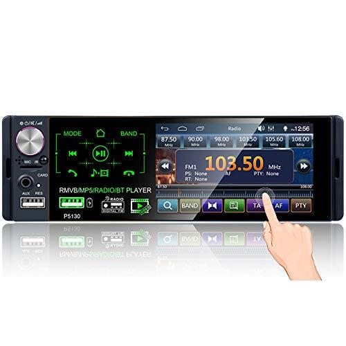 Podofo Autoradio 1 DIN Bluetooth 4.1 '' Supporto touchscreen capacitivo FM/AM/RDS Autoradio stereo Lettore MP5 / MP3 con doppia porta USB/AUX/TF + 12 LED telecamera di retromarcia