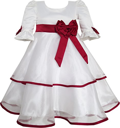 Sunny Fashion Girls Dress Red Rose Bow Tie Lace Formal Party Long Sleeve