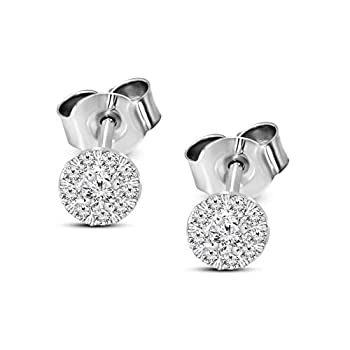 Mothers Day Gifts IGI Certified Lab Grown Diamond Earrings 925 Sterling Silver 1/4 carat Lab Created Diamond Halo Stud Earring For Women   1/4 CTTW HI Color I1 Clarity Diamond Gifts for Mom