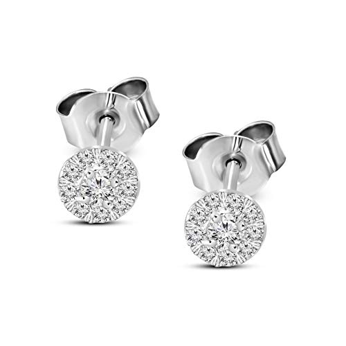 Valentines Day Gifts Lab Grown Diamond Earrings 1 Carat Halo Stud Earring Diamond Stud Earrings For Women 14K White Gold GH-VSSI Quality Diamond Earring Gifts for Her