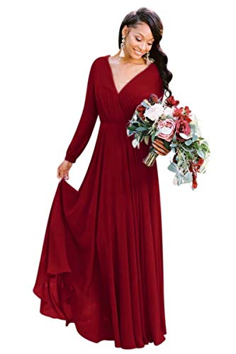 VinBridal Women's Long Sleeve V Neck Chiffon Bridesmaid Dress Beach Wedding Gown Burgundy 2