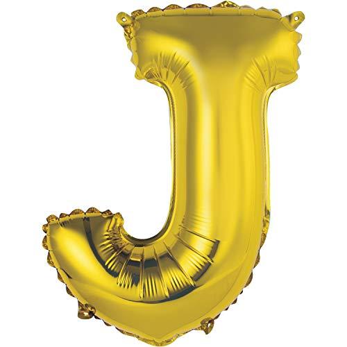 Globo de aluminio con letra J, 35 cm, color dorado