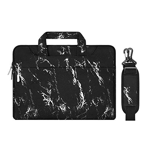 MOSISO Laptop Shoulder Briefcase Bag Compatible with MacBook Pro 16 inch A2141, 15-15.6 inch MacBook Pro 2012-2019, Notebook, Canvas Marble Pattern Carrying Handbag Sleeve Case Cover, Black