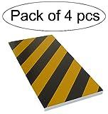 SNS SAFETY LTD Protección Garaje Adaptable, Tiras de Espuma Adhesivas, para Columnas Redondas, 50x25x2cm, 4 piezas (Negro Amarillo)