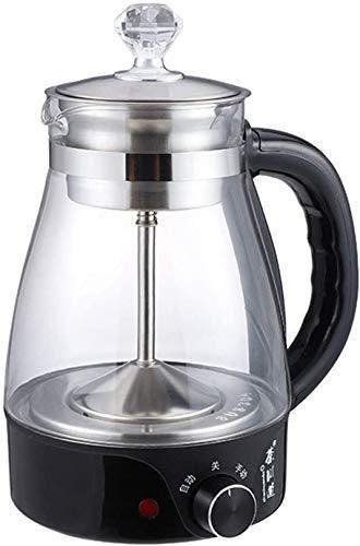 QDY Hervidor eléctrico de Vidrio, 1 l, máquina para Hacer té, Tetera de Vidrio Transparente, Filtro de Acero Inoxidable Permanente, teteras de Vidrio de borosilicato, teteras para la Salud, espe