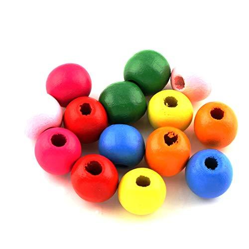 Perlin Holzperlen 24mm Holz Perlen 50stk Bunte zum auffädeln Holzkugeln Rund zum Basteln 4,5mm großes Loch für DIY Schmuck Herstellung Arts Crafts Halskette H170 x2