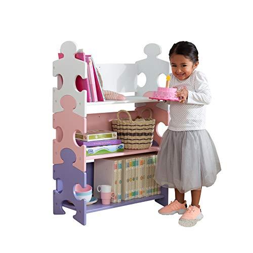 Kidkraft 14415 - Scaffale A Puzzle con 3 Mensole, in Legno, Mobile per la Cameretta dei Bambini, Bianco/Rosa/Viola