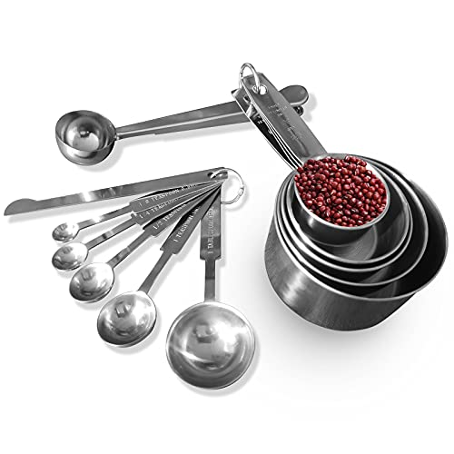 Stainless Steel Measuring Cups and Spoons Set - 12-Piece