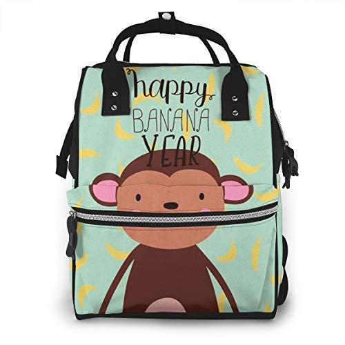 Nappy Sacs à Dos à Langer pour Bébé Sac de Voyage étanche Avec Grand Capacité Monkey Banana Lettrage Happy Sac à Dos pour Mères et Soins Des Bébés