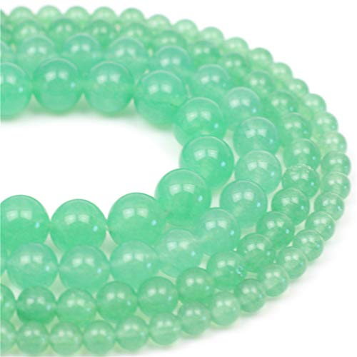 Oameusa Natural Round Smooth 6mm Greenstone Green Jade Beads Gemstone Loose Beads Agate Beads for Jewelry Making 15' 1 Strand per Bag-Wholesale