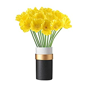 kaimimei Artificial Poppy Flowers Fake Flower Decorative Flower Real Touch 20 pcs Flower for Wedding Party Home Decoration(Yellow)(vase not Include)