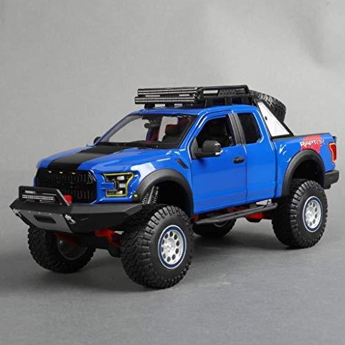 ZAKRLYB 1:24 Ford Raptor F150 Pickup Alloy Car Boy Toy Static Model Toy Car Decoración del hogar Colección Boy Girls Birthday Toy for niños Regalo (Color : Azul)