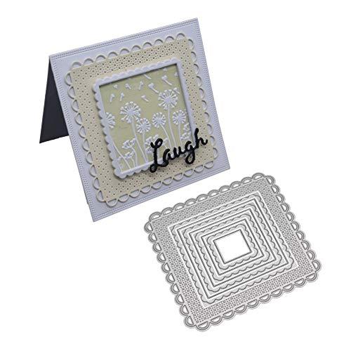 Troqueles de corte para la fabricación de tarjetas, marco cuadrado de corte de metal troqueles plantilla DIY Scrapbooking álbum tarjetas plantilla - plata