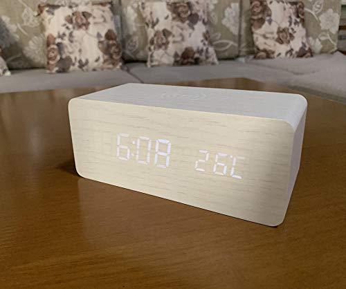 hlyhly Clocks digitaal alarm klok creatieve digitale geluidscontroller thermometer bel wekker draadloos opladen houten klok
