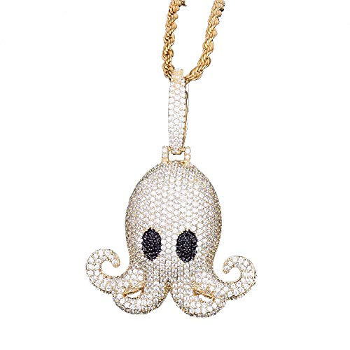 gioielli mocas quisito Bubble Octopus pendente animale hip hop cristallo strass collana di cristallo placcato oro 18 K con catena di corda 50,8 cm acciaio per uomo donna (oro)