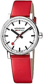 Mondaine - Evo2 - Reloj de Cuero Rojo para Hombre y Mujer, MSE.35110.LC, 35 MM
