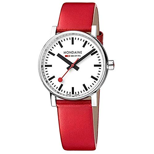 Mondaine Evo2 - Rote Lederuhr für Herren und Damen, MSE.35110.LC, 35 MM