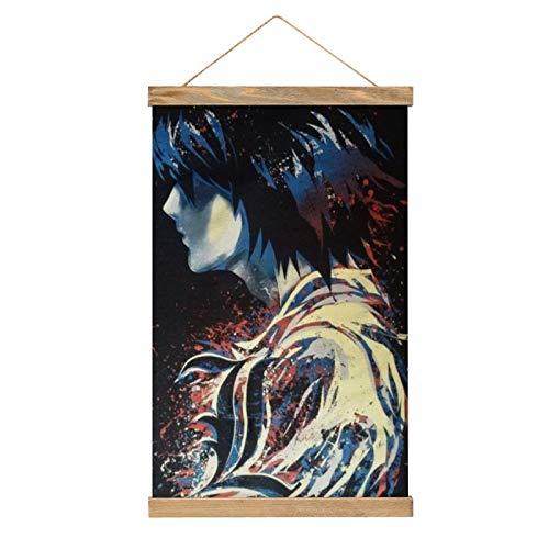 HirrWill Lienzo para colgar un cuadro, anime Death Note (5), pintura, decoración de pared artística, tiras de madera y cordón, baile -13.1 x 20.4 pulgadas.