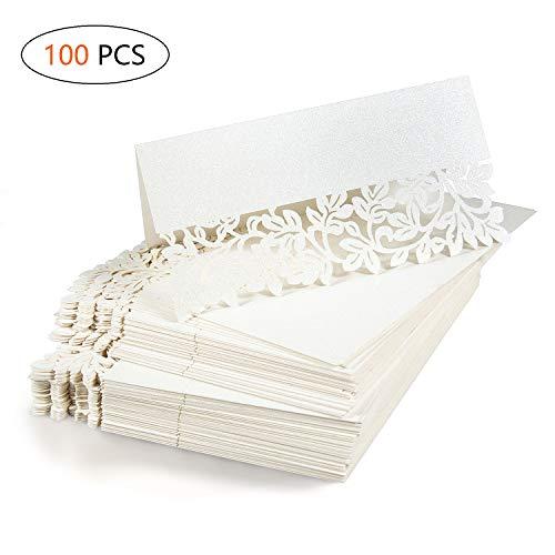 Jolintek 100 Stück Platzkarten tischkärtchen Namenskarten Sitzkarte weiß Tischdeko für Hochzeit Party Feste Geburtstag Jubiläum (Creme)