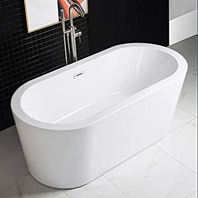 "WOODBRIDGE Acrylic Freestanding Bathtub Contemporary Soaking Tub with Brushed Nickel Overflow and Drain B0012,White, 59"""" B-0012"
