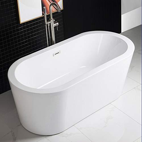 WOODBRIDGE Acrylic Freestanding Bathtub Contemporary Soaking Tub with Brushed Nickel Overflow and Drain B0012,White, 59