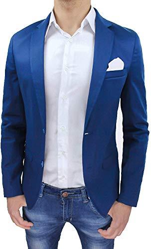 Evoga Giacca Uomo Slim Fit Blu Elegante Casual Blazer in Cotone 100% Made in Italy (XL, Blu)