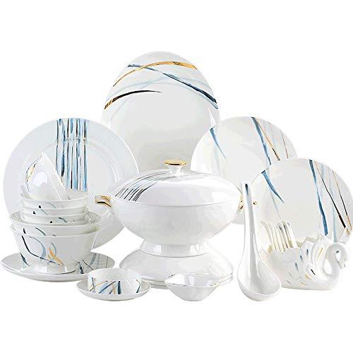 GAXQFEI Conjuntos de China de hueso de porcelana Vajillas, creatividad vajilla de cocina conjunto conjuntos Plato Incluye Platos/ENSALADERAS/cuchara, servicio de 10 - Gran regalo para la familia