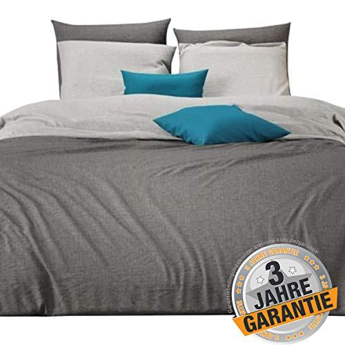 Aminata Kids Premium Wende-Bettwäsche 220x240 80x80 für Paare, hell-grau, Uni-Farben-Motiv, Baumwolle mit Reißverschluss, kuschelig, neutral