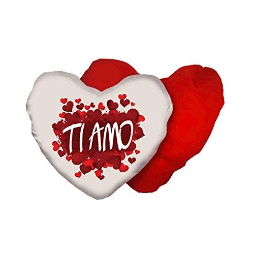 Cuscino Bianco Rosso Forma Cuore Scritta Ti Amo Amore Idea Regalo