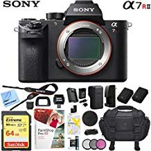 Sony a7R II Full-Frame Mirrorless Interchangeable Lens 42.4MP Camera Body Bundle with 64GB Memory Card, Camera Bag for DSLR, Camera...