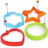 COM-FOUR® Forma de tortilla 4x - círculo, flor, estrella y corazón - para huevos fritos y...