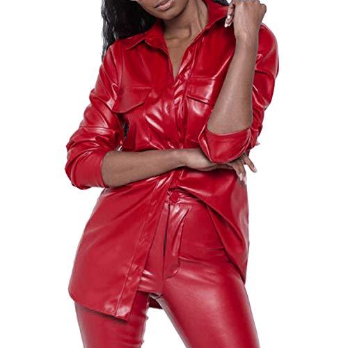 FRAUIT Damen PU Leder Revers Knopf Bluse Langarmshirt Persönlichkeit Freizeit Festlich Party Kleidung Mode Elegant Streetwear Hemd Oberteil Clubwear Mantel