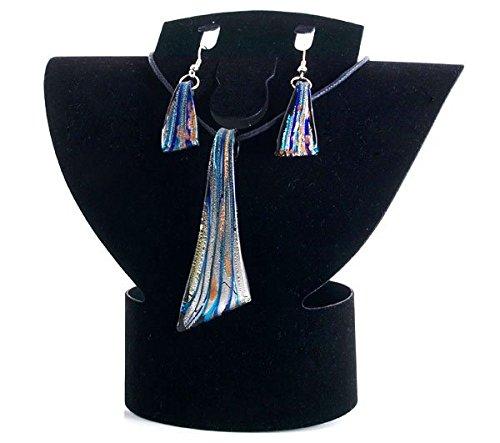 Ecloud Shop® Conjunto Collar Colgante Pendientes Cristal de Murano