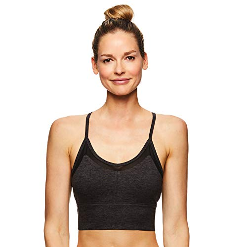Gaiam Women's Strappy Wireless Bralette - Medium Impact Longline Racerback Workout & Yoga Sports Bra - Athena Gaiam Asphalt Heather Grey, Large