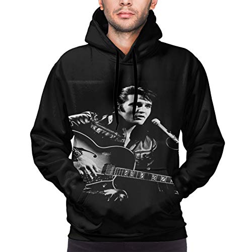 Sbvsdghfhgs The Superstar Elvis-Presley Hold The Guitar Pullover Kapuzenhemd Sporthemd Herren Sweatshirt Langes Hemd Herren Hoodie Langarm T-Shirt (XXL)