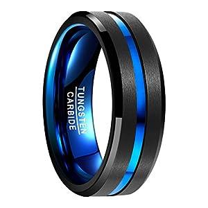 NUNCAD Wolfram Herrenring, Partnerring, schwarz blau, polierte Oberfläche mit blauem Groove, Men Schmuck Fashion_Lifestyle Größe 49