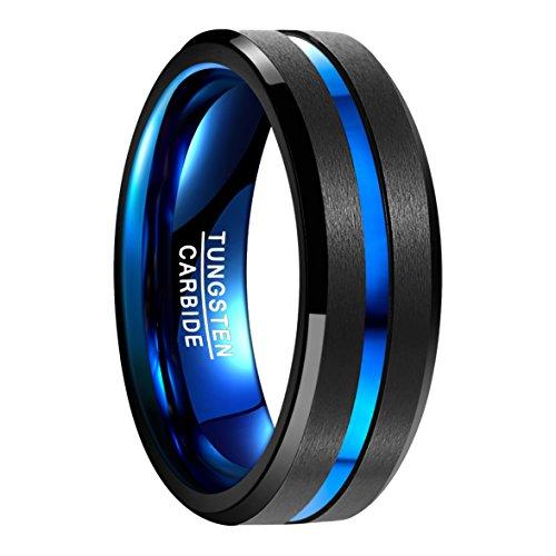 Nuncad Anillo Hombres/Mujeres tungsteno Negro + Azul Ancho Exterior 8 mm Cómodo para la Boda, Compromiso, Todos los Días, Tamaño 9 a 35 (CH: ≈ 10 a 35)