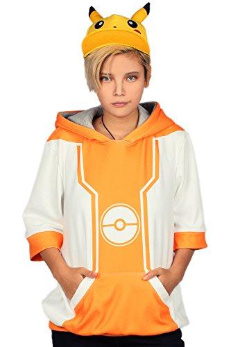 Mesky Pokemon Go Pullover Anime Hoodie Cosplay Kapuzenpullover für Fans Sport Pulli 2 Type aus Baumwolle Unisex Kostüm Zubehör