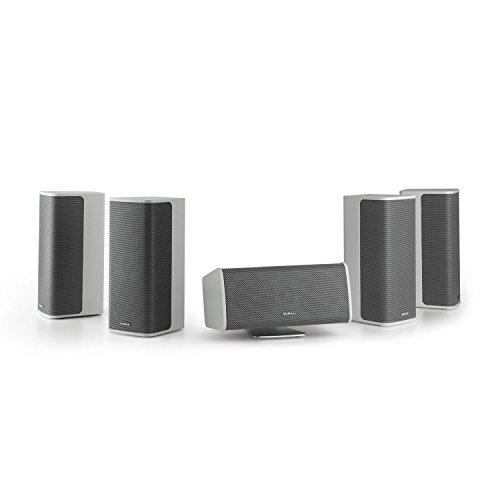 NUMAN Ambience 5.0-Lautsprecher-System - 5.0 Surround-System, Heimkino Set, 4 x Satellitenlautsprecher, je 60 W RMS, Center-Lautsprecher mit Aluminium-Standfuß, 30 m Lautsprecherkabel, weiß