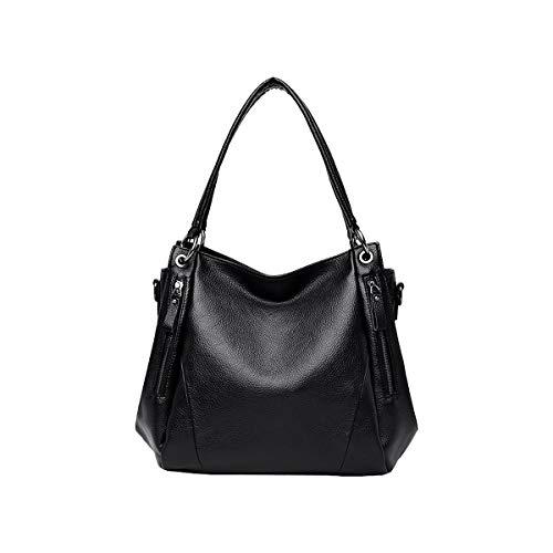 Tisdaini® Damenhandtaschen mode weich leder große Schultertaschen PU leder Shopper Umhängetaschen Schwarz