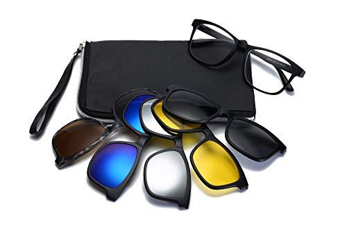 HIFOT brillengestelle mit Magnetisch Clip polarisierte Sonnenbrille, Plastik Brillenrahmen Brillenfassungen für herren damen