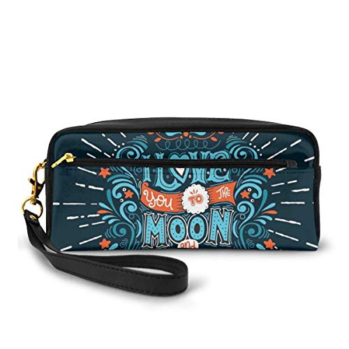 Pencil Case Pen Bag Pouch Stationary,Ethnic Stylized Valentines Swirls Floral Bloom Branches Attraction Friends,Small Makeup Bag Coin Purse
