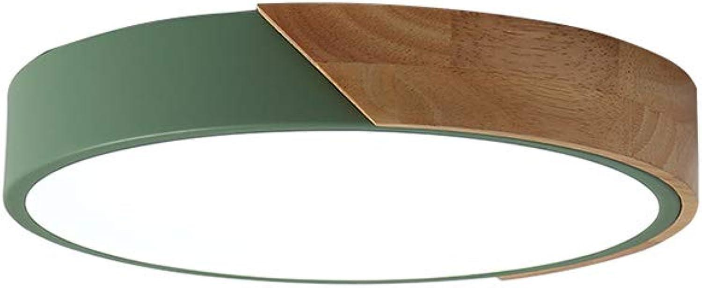 CUICANH LED Moderner Deckenleuchte,Nordische Kreativ Ultra-dünne Einfache Macaron Eisen Holz Runde Deckenlampe Für Kinderzimmer Schlafzimmer Grün-18W-weies Licht 30x5cm