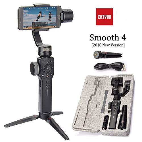 Zhiyun Smooth 4 Stabilisateur de cardan à 3 axes avec fonction de mise au point et de zoom pour smartphones comme iPhone X 8 Plus Samsung S9 +